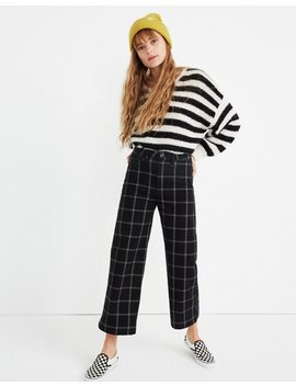 Petite Emmett Wide Leg Crop Pants In Black Windowpane by Madewell