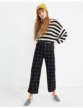 Petite Emmett Wide Leg Crop Pants In Black Windowpane by Madewell