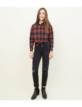 Girls Black Ripped Stretch Mom Jeans by New Look