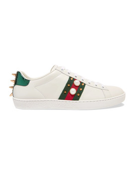Ace Faux Pearl Embellished Metallic Watersnake Trimmed Leather Sneakers by Gucci