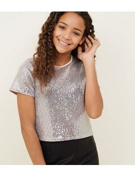 Girls Pale Grey Mirrored Sequin Boxy T Shirt by New Look