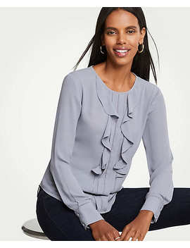 Cutout Pleated Ruffle Blouse by Ann Taylor