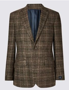 Pure Wool Brown Checked Regular Fit Jacket by Marks & Spencer