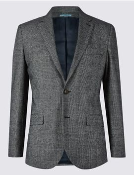 Cotton Rich Checked Tailored Fit Jacket by Marks & Spencer