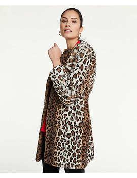 Petite Leopard Print Faux Fur Jewel Neck Coat by Ann Taylor