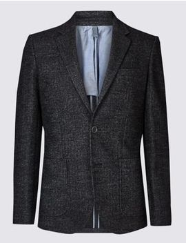 Charcoal Herringbone Tailored Fit Jacket by Marks & Spencer