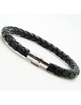 Women Men Unisex Braided Leather Steel Magnetic Clasp Bracelet Handmade by Unbranded