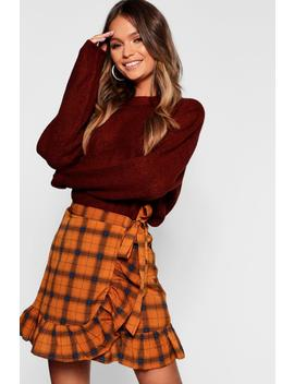 Woven Check Wrap & Ruffle Mini Skirt by Boohoo