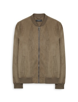 Tan Suede Bomber Jacket by Primark