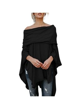 Womens Off Shoulder Irregular Hem Soft Knitted Poncho Sweater Pullovers by Vista