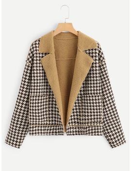 Houndstooth Teddy Lined Coat by Shein