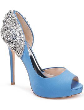 Vicki Crystal Embellished Peep Toe Pump by Badgley Mischka