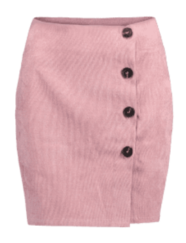 Corduroy Buttoned Mini Skirt   Pink M by Zaful