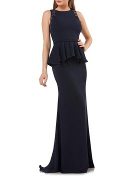 Embellished Peplum Waist Crepe Gown by Carmen Marc Valvo Infusion