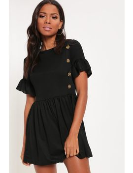Black Button Front Detail Smock Dress by I Saw It First