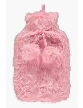 Fluffy Double Pom Hot Water Bottle by Boohoo