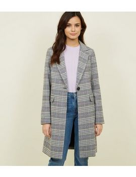 Black Check Longline Coat by New Look