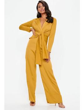 Mustard Satin Shirt Collar Jumpsuit by Missguided