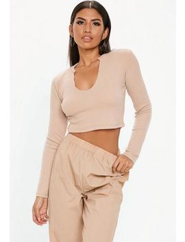 Sand Notch Front Ribbed Crop Top by Missguided