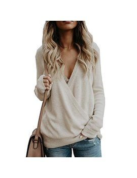 Women's Knitted Deep V Neck Long Sleeve Wrap Front Loose Sweater Pullover Jumper by Vista