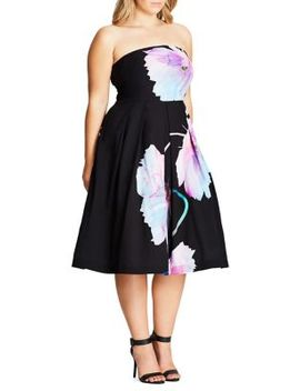 Plus Strapless Floral Midi Dress by City Chic