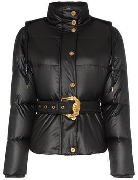 Hooded Belted Feather Down Puffer Jacket by Versace