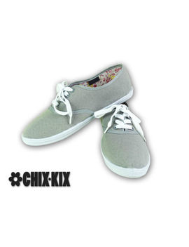 Womens Grey Canvas Shoes Lace Up Casual Sneakers Kicks Footwear Tennis Flats New by Chix Kix
