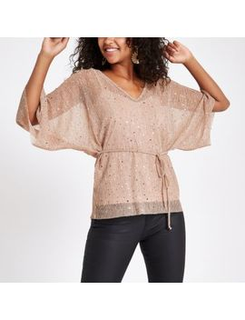 Pink Sequin Kimono Top by River Island