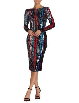 Emery Colorful Sequin Midi Dress by Dress The Population
