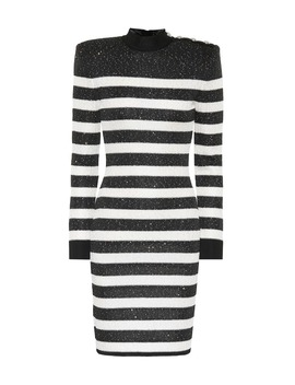 Sequined Striped Dress by Balmain