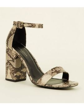 Stone Faux Snake Block Heel Sandals by New Look