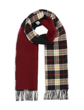 Stripe Accented Color Block Scarf by Burberry