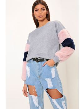 Grey Sweatshirt With Fluffy Sleeves by I Saw It First