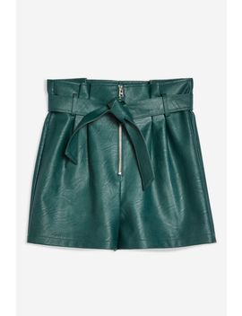 Leather Look Zip Shorts by Topshop