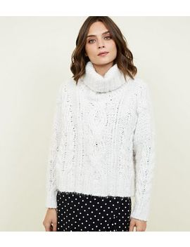 Off White Chenille Cable Knit Boxy Jumper by New Look