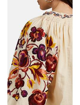 Simona Floral Embroidered Linen Cotton Blouse by Ulla Johnson
