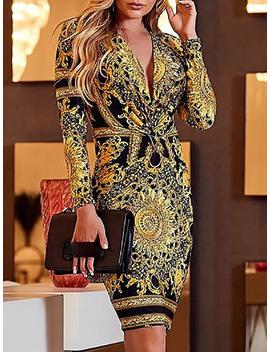Ethnic Print Plunge Twist Front Long Sleeve Dress by Ivrose