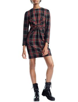 Plaid Twist Front Dress by Maje
