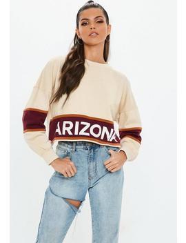 Cream Arizona Color Block Crop Sweatshirt by Missguided
