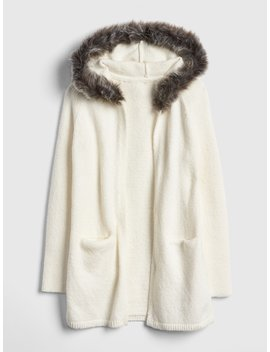 Faux Fur Trim Cardigan Sweater by Gap