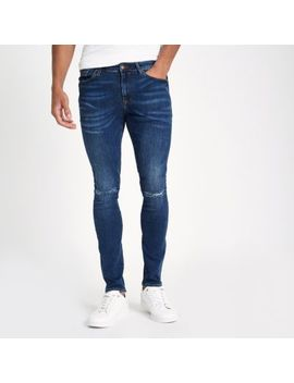 Dark Blue Ripped Super Skinny Jeans by River Island