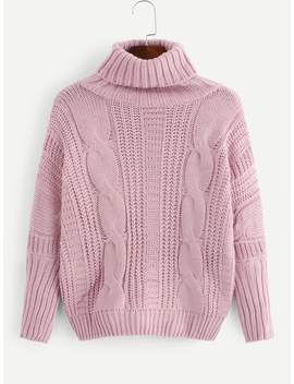 Solid Cable Knit High Neck Sweater by Romwe