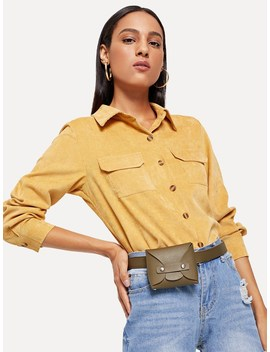 Pocket Decoration Collar Blouse by Romwe