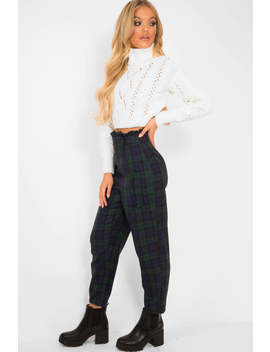 Navy Tartan Frill Detail Trousers   Bristal by Rebellious Fashion