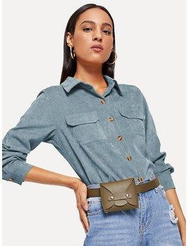 Corduroy Pocket Decoration Collar Blouse by Romwe