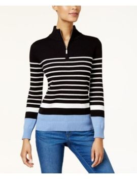 Karen Scott Women's Cotton Striped Zip Mock Neck Sweater Lux Blue Black Combo Xs by Karen Scott