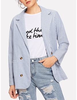 Shawl Collar Striped Blazer by Romwe