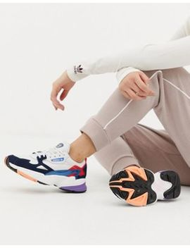 Adidas Originals White And Navy Falcon Trainers by Adidas