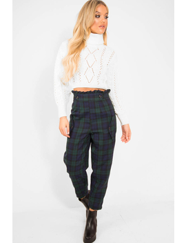 Cream High Neck Cropped Cable Knit Jumper   Sandria by Rebellious Fashion