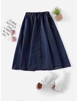 Denim Single Breasted Skirt by Romwe